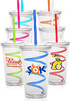 16 oz. Curly Straw Double Wall Acrylic Tumblers