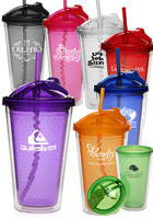16 Oz. Diamond Double Wall Tumbler With Straw