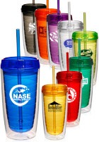Econo 16 Oz. Double Wall Tumblers With Lid And Straw