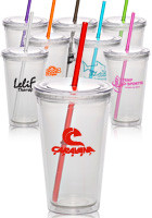 16 oz. Clear Double Wall Acrylic Tumbler with Color Straw