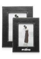 Set of Two Black w/White Stitching Photo Frames